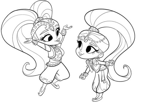 Shimmer And Shine Coloring Page Shimmer And Shine Characters Coloring Pages Coloring Books