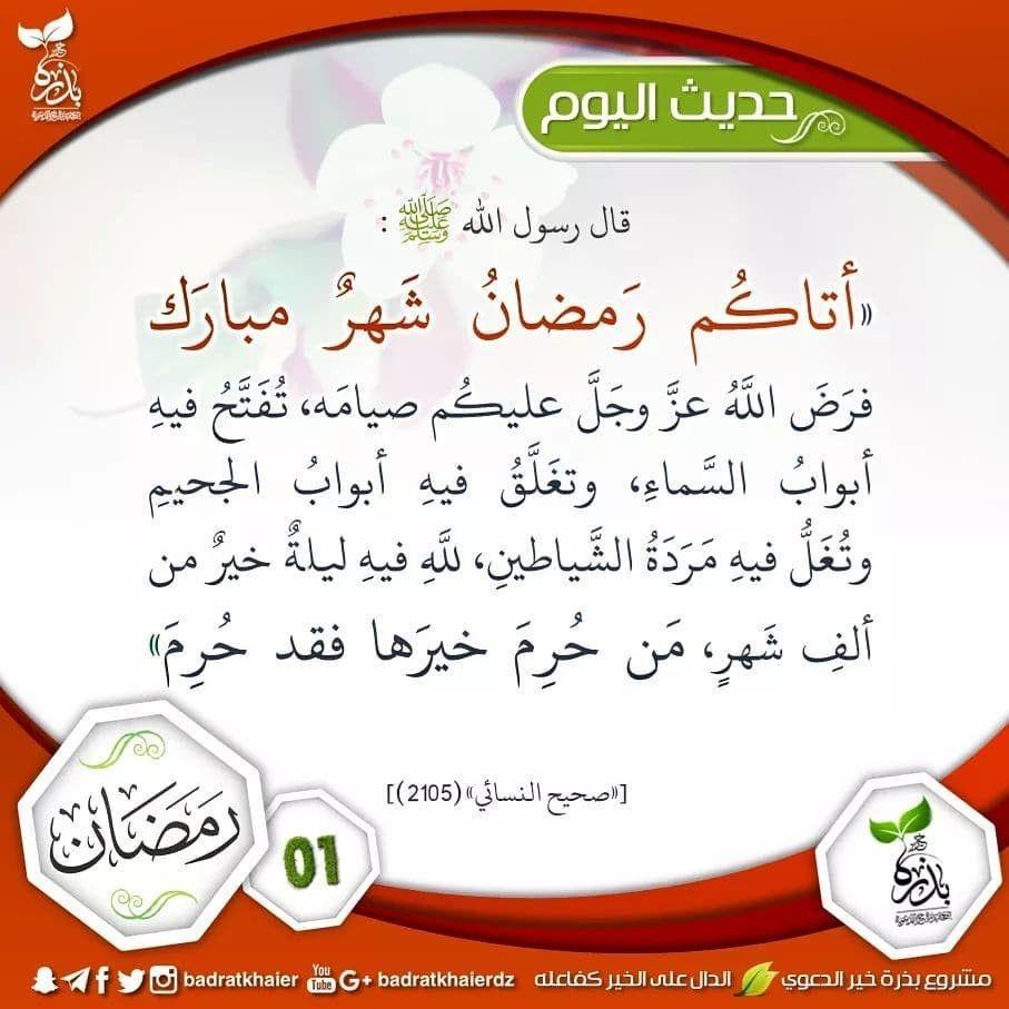 حديث النبي صلى الله عليه وسلم Hadith Ramadan Arabic Calligraphy