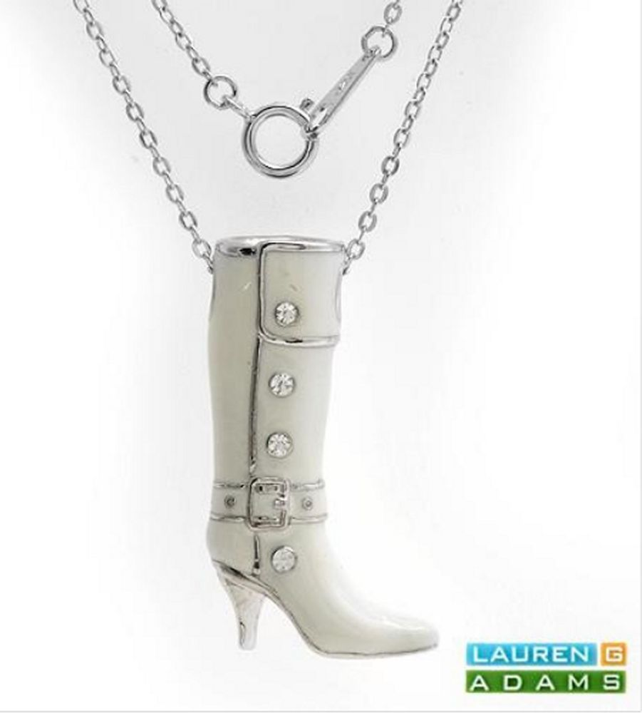 Cowgirl Boot Necklace in 925 Sterling Silver & Cream Enamel with Crystal studs #LaurenGAdams #Cowgirl