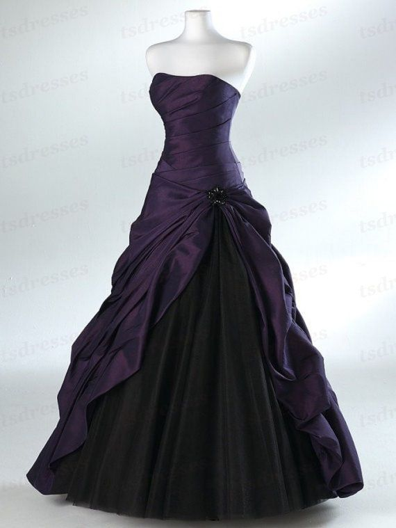 Wonderful Elegant Strapless Asymmetric Purple Pleats Ball Gown Taffeta Floor-Length Prom Evening Dresses