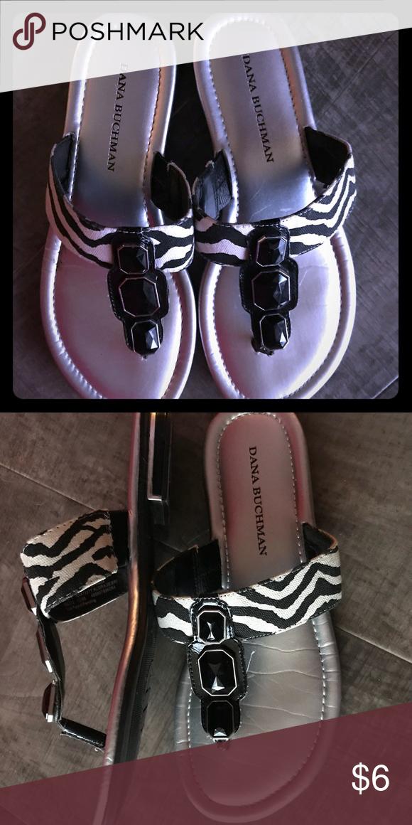 a25cca22f Dana Buchman sandals Zebra print fabric flat sandals with black jeweled  strap. Good used condition