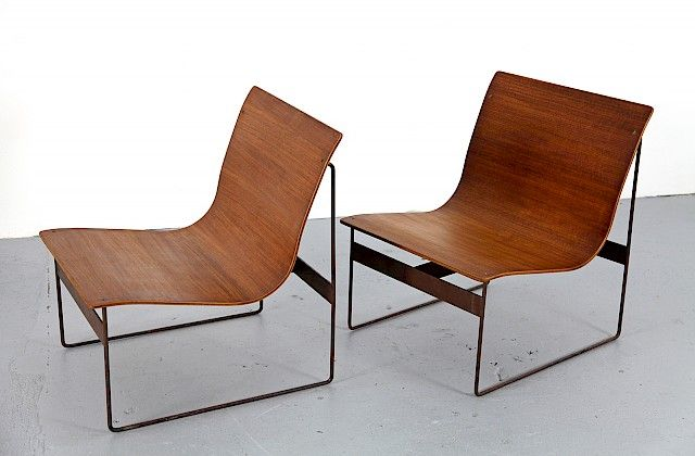 Mid Century Modern Teak Plywood Lounge Chair / Sessel Schichtholz with Steel Frame 1960 - Made in Germany_Gallery