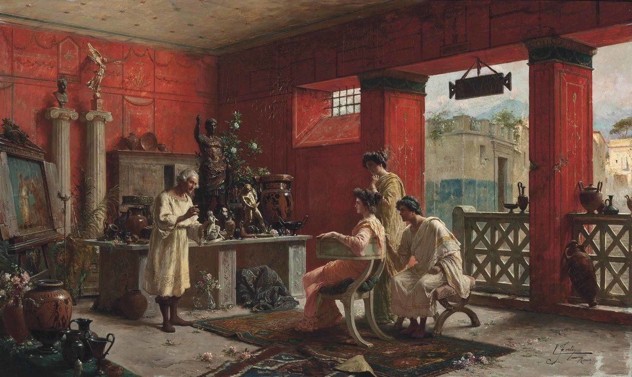 The Antiquarian Ettore Forti Italian Active Late 19th Early 20th Century Oil On Canvas Forti Was An Italian Painte Ancient Paintings Ancient Art Painting