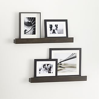 Archetype 24 Brown Photo Ledges Set Of Two I Crate And Barrel Home Decor Photo Ledge Family Photo Wall