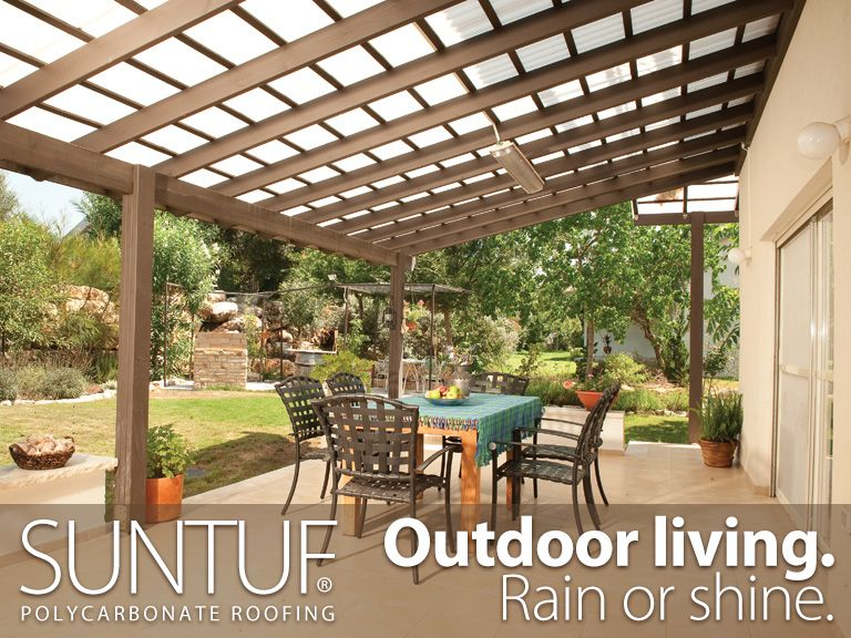This large patio space can be used year-round, thanks to a Suntuf® Roof.  For maximum light transmission, use clear. For more shade, use white or  solar gray. - This Large Patio Space Can Be Used Year-round, Thanks To A Suntuf