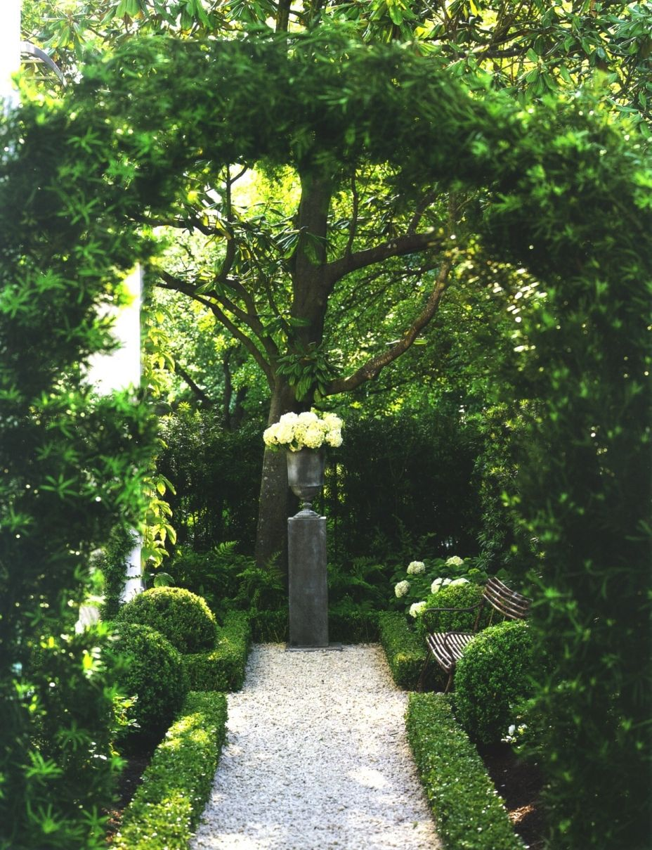Imagine that the low hedge around the urn crossed in front of it, too, creating a green wall across the back of the garden: That's what our courtyard garden will look like. Villa D'Porto.