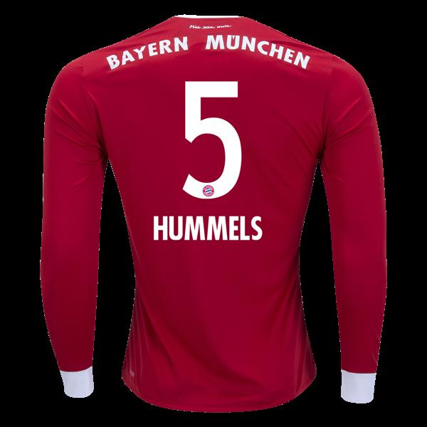 5959f5f3234 adidas Mats Hummels Bayern Munich Long Sleeve Home Jersey 17/18 ...