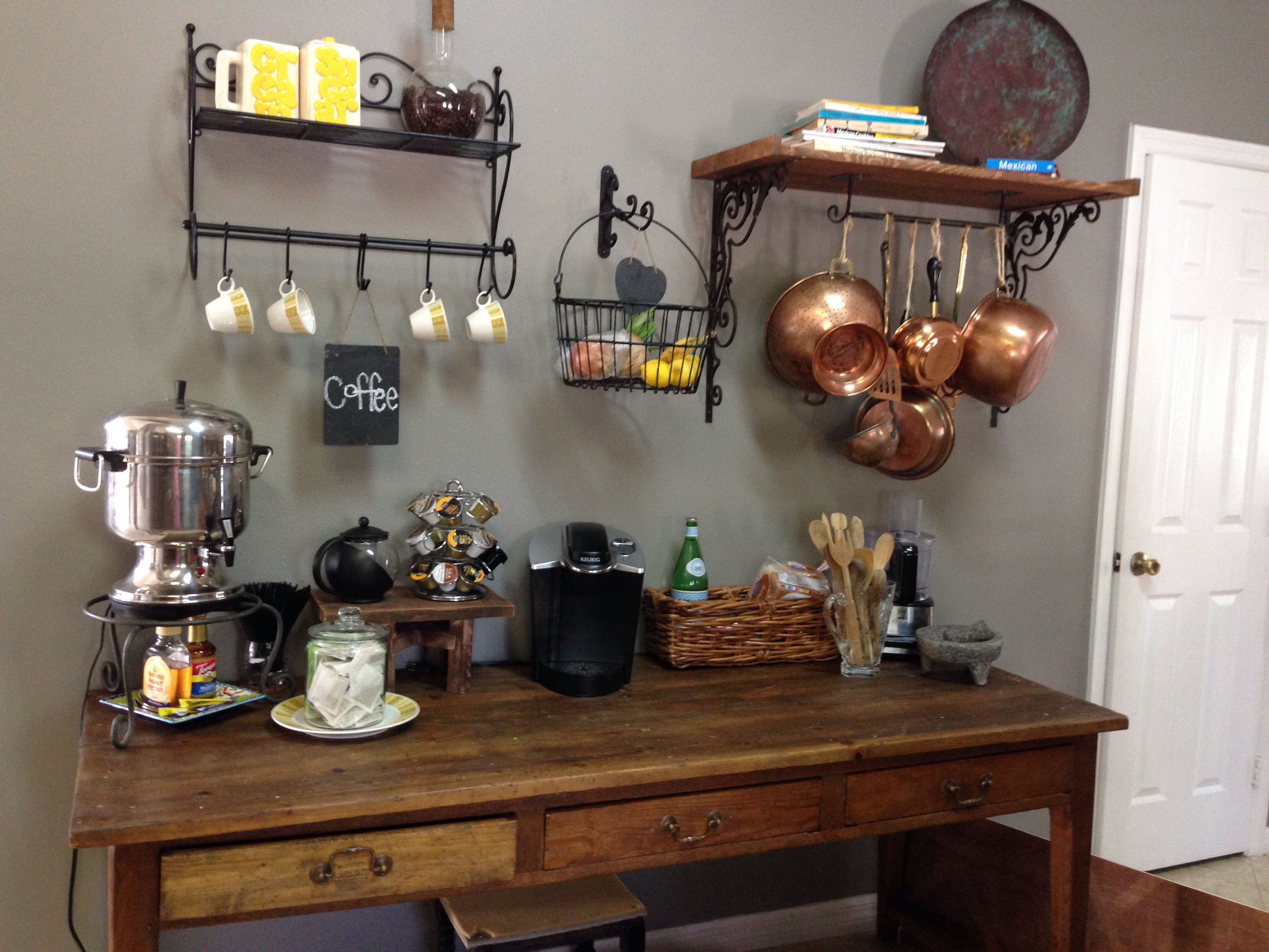 Rustic Kitchen Coffee Bar Must Have A Coffee Bar We Have Three Coffee Makers That Take Up Too Much Cof Diy Coffee Bar Table Coffee Bar Home Diy Coffee Bar
