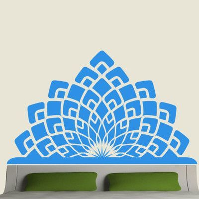 EyvalDecal Modern Headboard Vinyl Wall Decal Size: Double, Color: Silver Metallic
