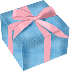 Pastel Blue Gift Box With Pink Bow Whimsical 2 Gifts Blue