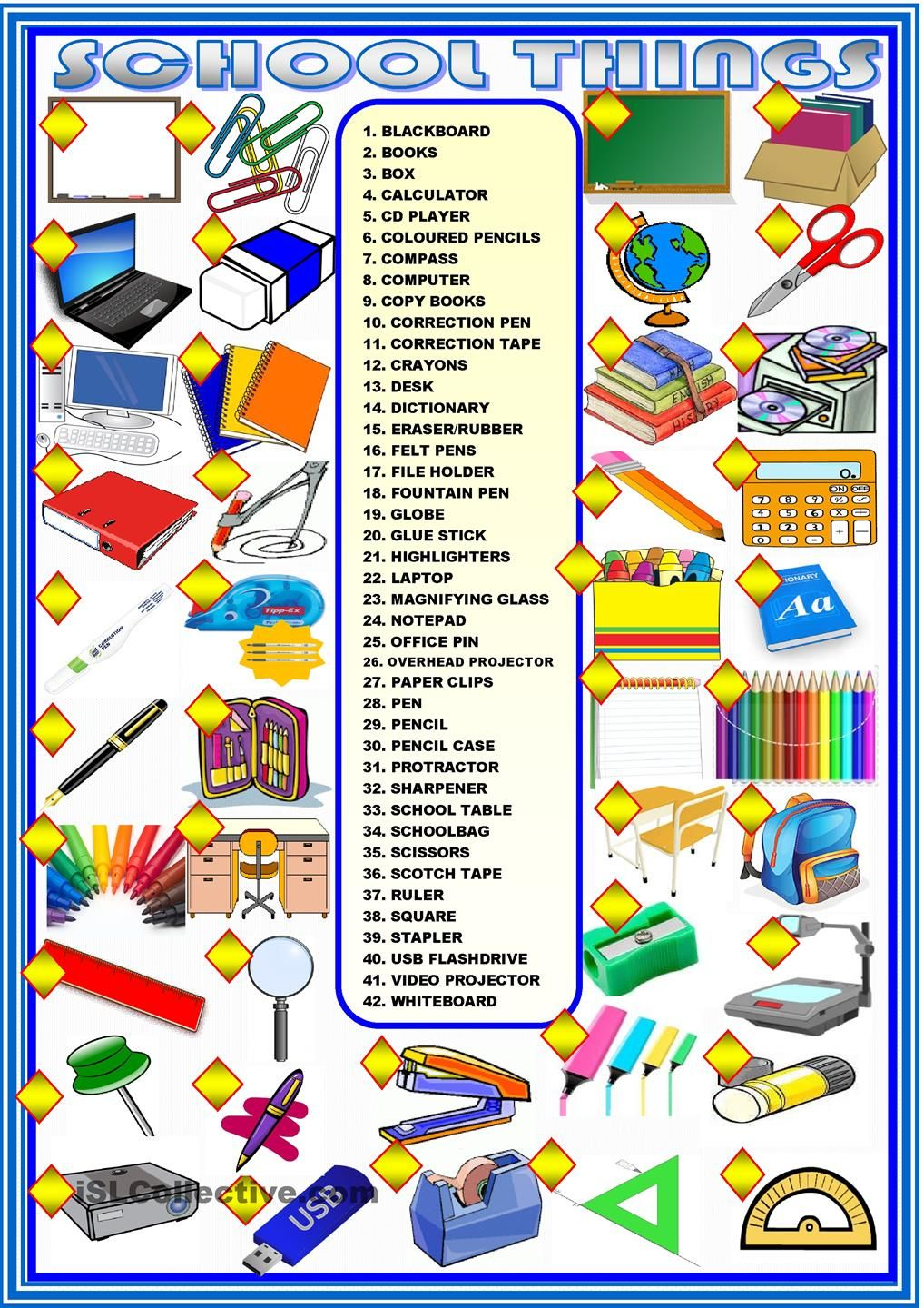 school things matching esl worksheets of the day english lessons for kids classroom. Black Bedroom Furniture Sets. Home Design Ideas