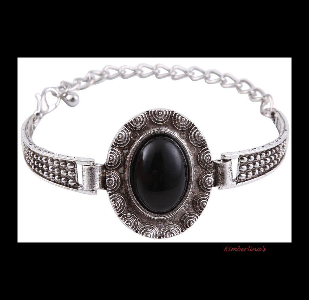 NEW- VINTAGE BOHEMIAN STYLE TIBETAN SILVER BLACK OVAL ADJUSTABLE BANGLE BRACELET #Handmade #Bangle