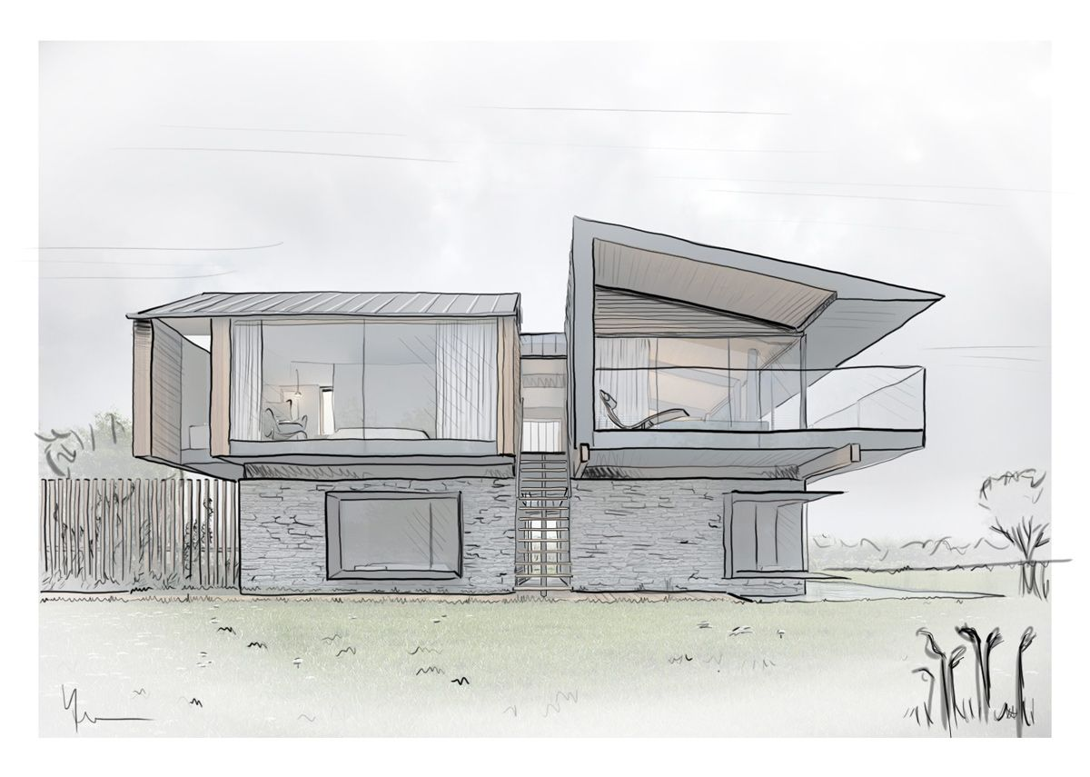Illustration Architectural Drawing Futuristic House Projects Design Dream House Drawing Architecture Sketch Architecture Model Trees