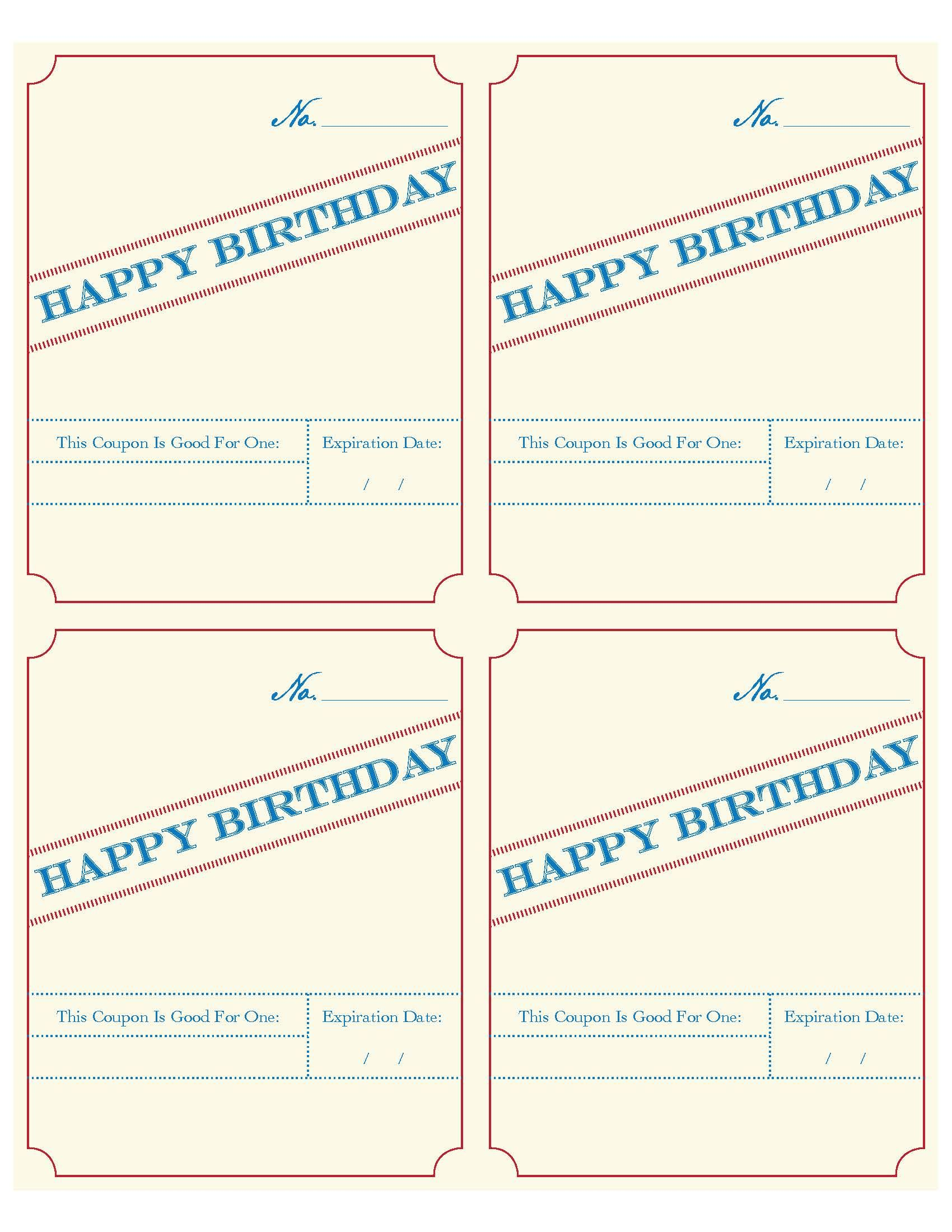 Printable PDF birthday coupons! (Great to slip into a handmade ...