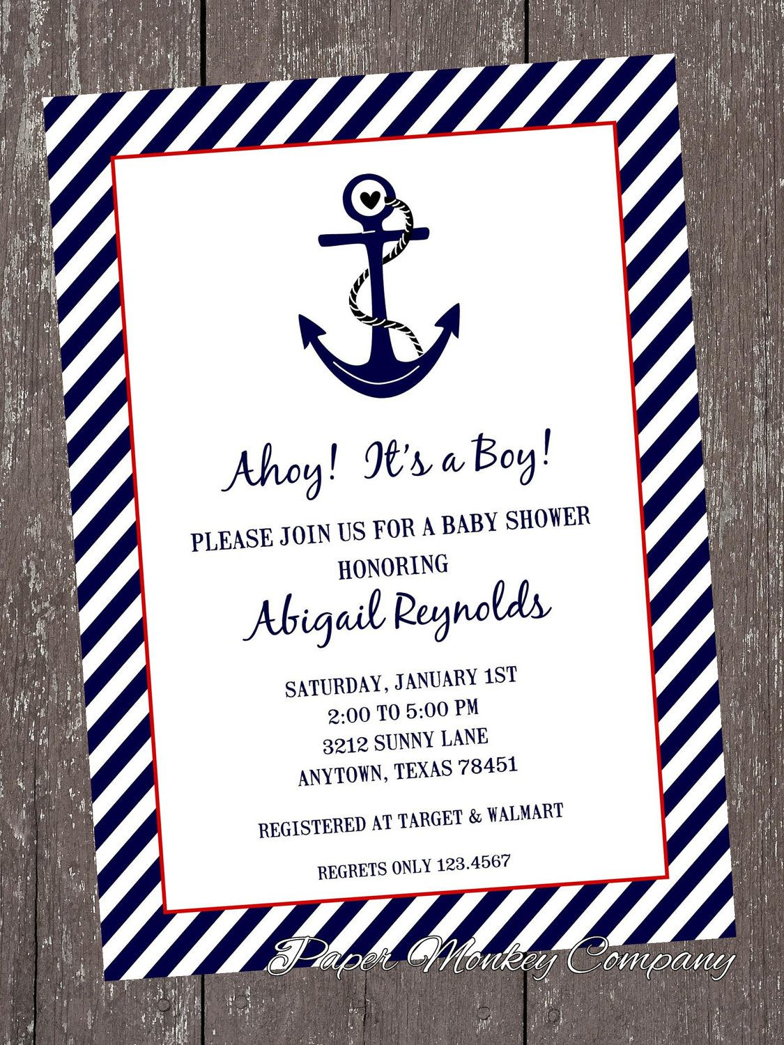 nautical baby shower invitations 1 00 each with envelope in 2018