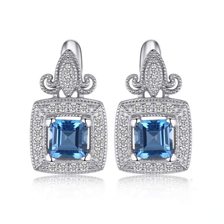 2.27ct Genuine Blue /& White Topaz 925 Sterling Silver Drop Pendant
