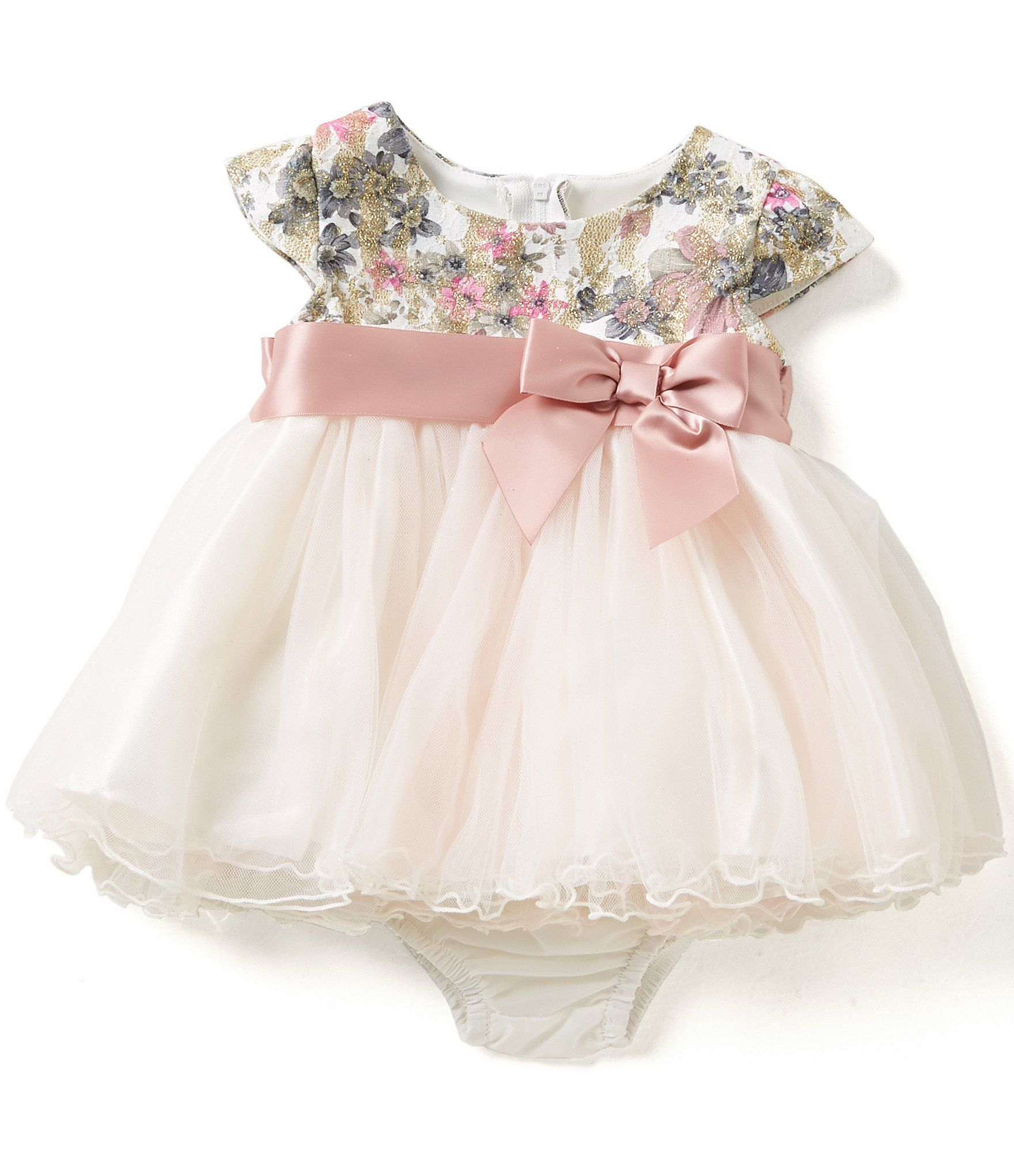 Bonnie Baby Baby Girls Newborn 24 Months Floral Lace Bodice to