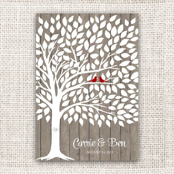 Jamie Wedding Guest Book Tree On Wood Background Poster With 175 Leaves Modern Print