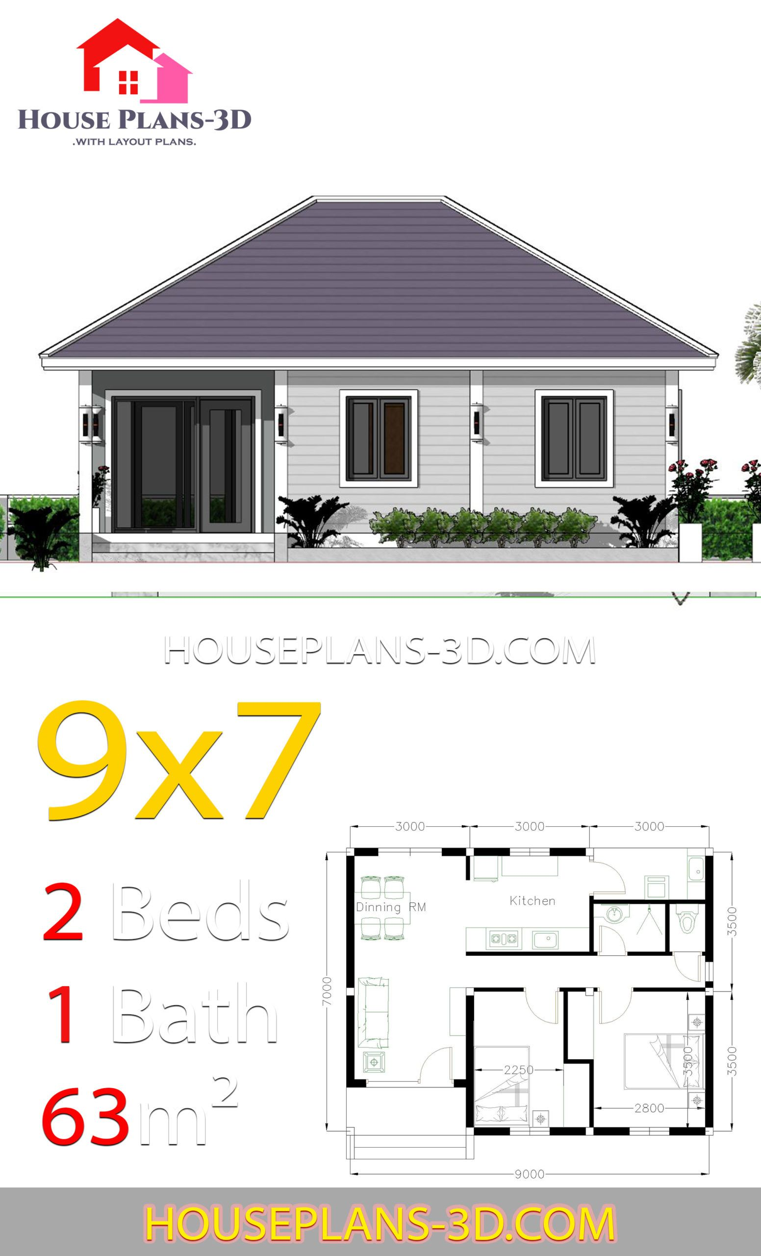 House Plans 9x7 With 2 Bedrooms Hip Roof House Plans 3d House Plans House Roof Hip Roof