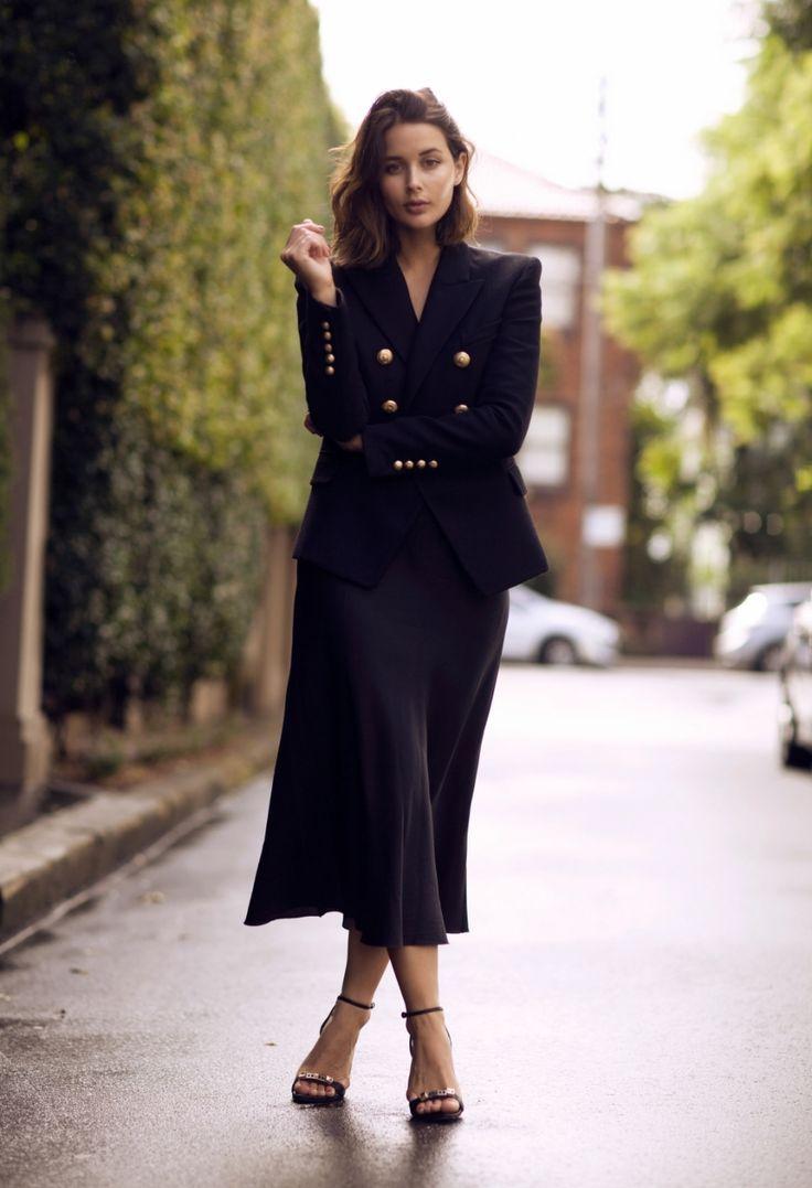 blazer with brass buttons and slip dress