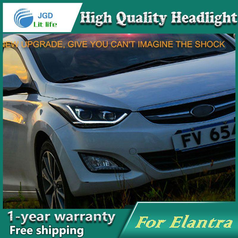 Car Styling Case For Hyundai Elantra 2011 2014 Headlights Led Headlight Drl Lens Double Beam Hid Xenon Car Accessories Elantra Elantra 2011 Hyundai Elantra