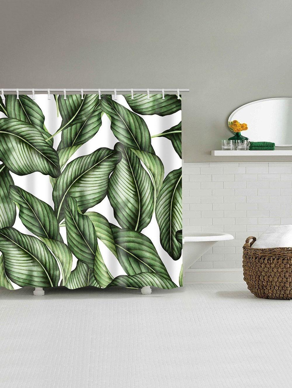 Green Leaves Print Bathroom Shower Curtain Bathroom Shower