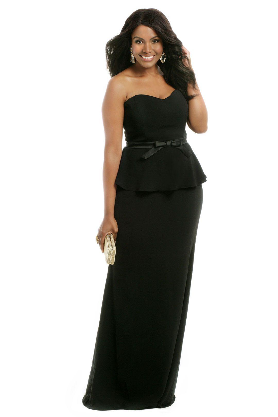 Noir Bow Peplum Gown | Peplum gown, Badgley mischka and Gowns