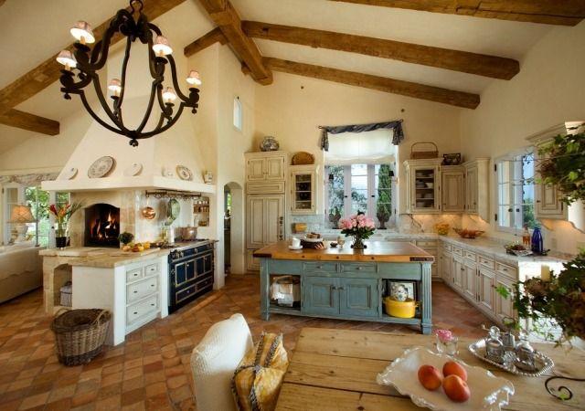 Italienische landhausküche  Unglasierter Ton und Terrakotta-Theken aus Marmor-Italienische ...