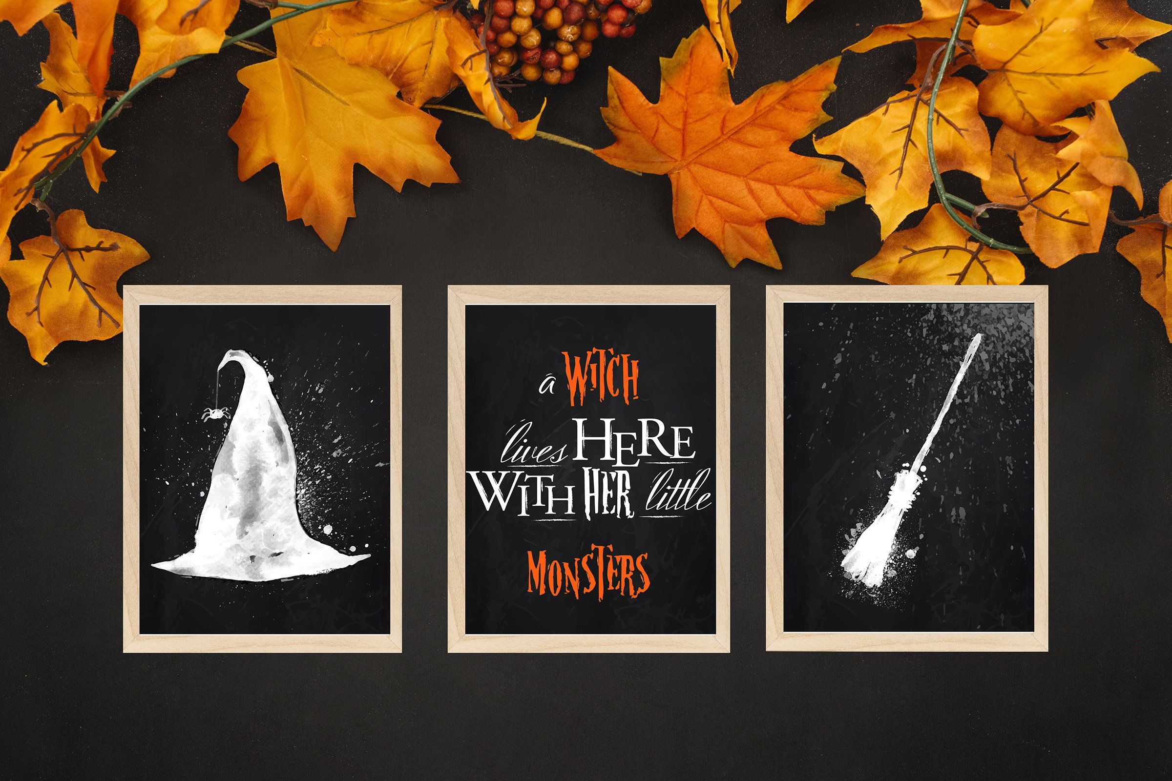 Halloween Decor Digital Download Witch Wall Art Halloween Wall