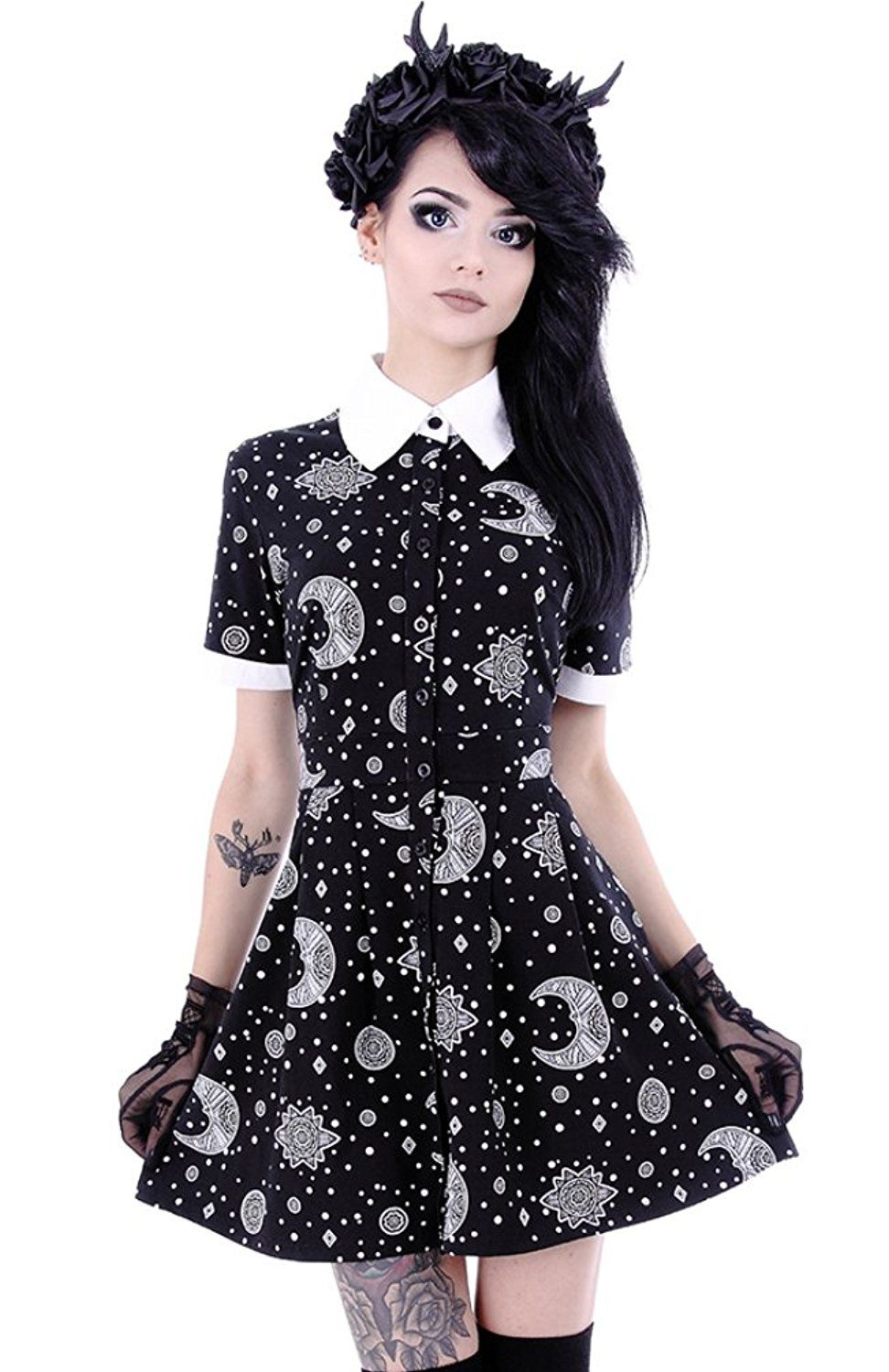 2053535df1f0e Restyle Moon Print Occult Astronomy Nugoth Punk Collared Mini Babydoll Dress:  Amazon.co.uk: Clothing