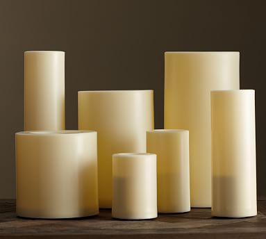 "Pottery Barn Flameless Candles Unique Flameless Outdoor Grand Pillar Candle  Ivory 6 X 12""  Outdoor"