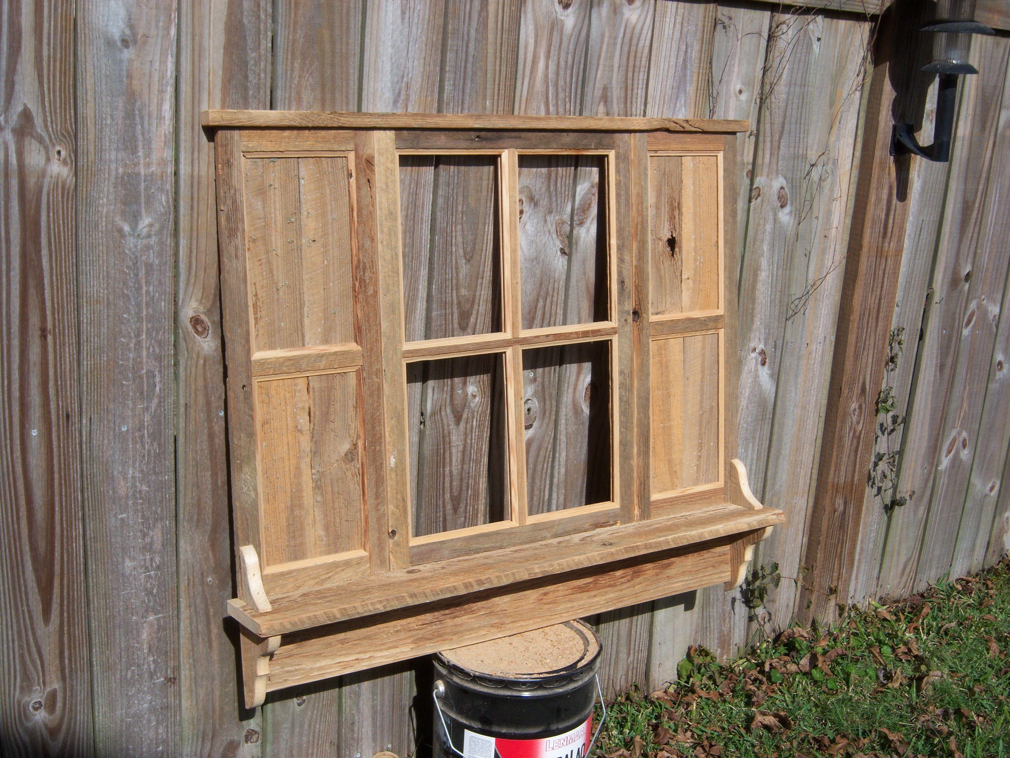Reclaimed Wood Window Shutter Shelf