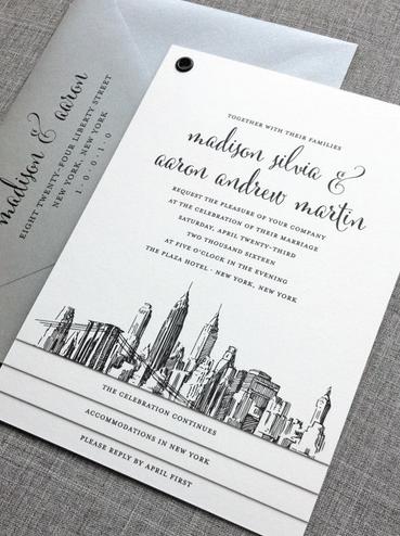 New York City Skyline Wedding Invitation Booklet Skyline Wedding Wedding Invitations Nyc Winter Wedding Invitations