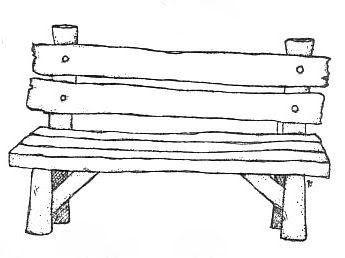 Vieux banc en bois magnolia dessin broderie et coloriage - Banc coloriage ...