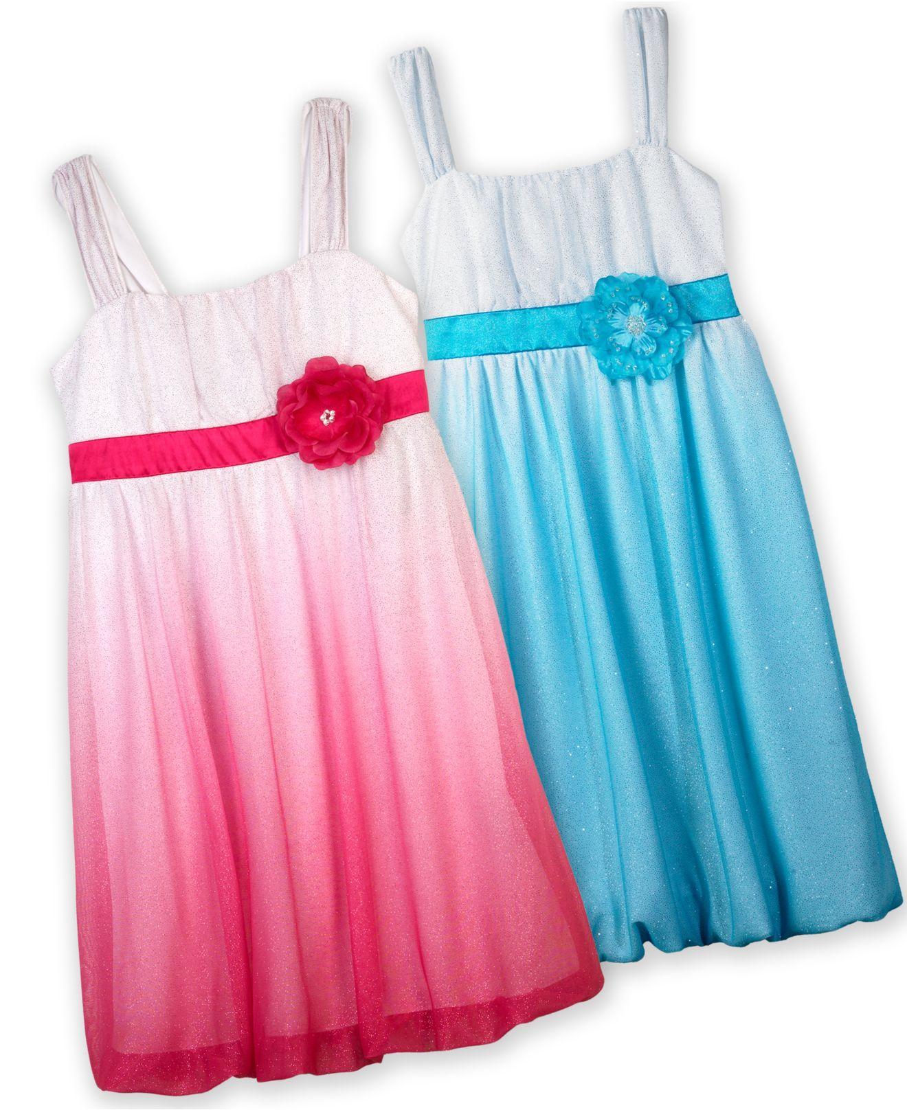 BCX Kids Dress, Girls Ombre Glitter Dress - Kids Dresses - Macy's ...