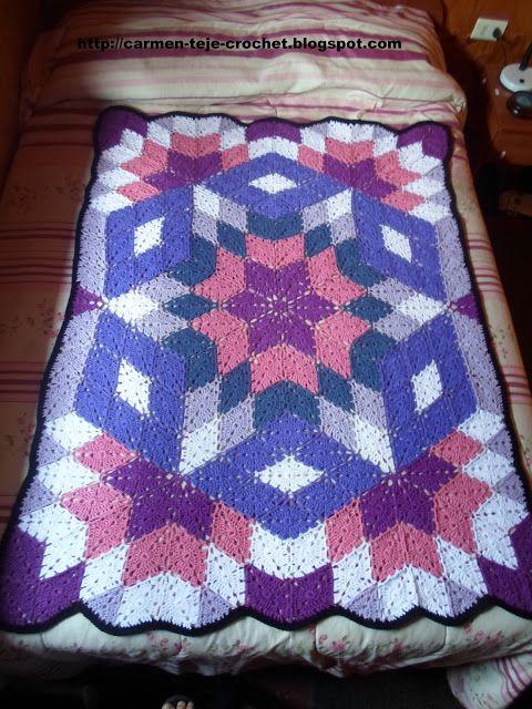Tejiendo crochet y más...: Manta con rombos | MANTAS | Pinterest ...