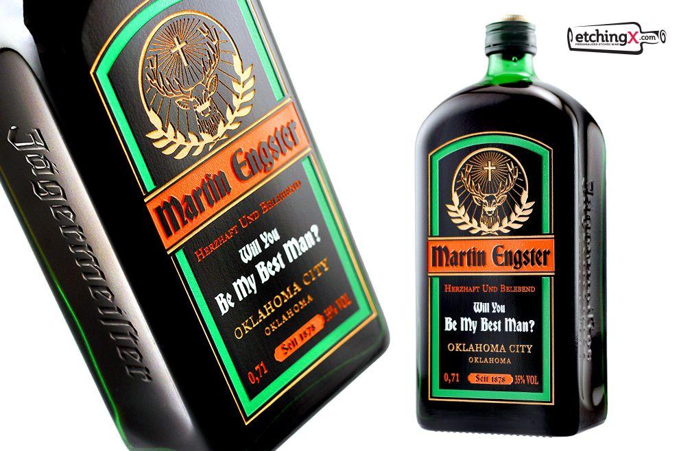 Jager Jagermeister Custom Design Bottle Label Etch