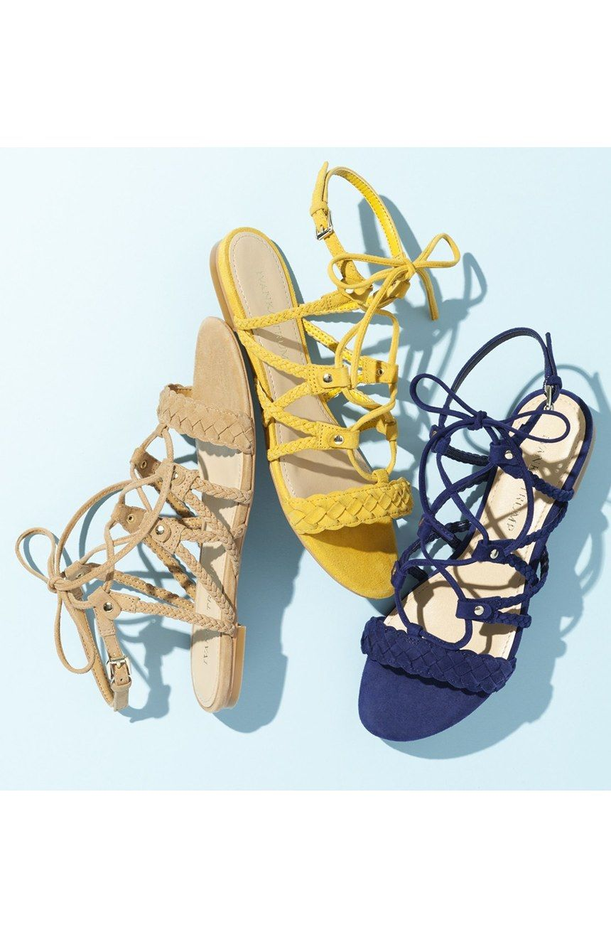 Braided and lace-up straps combine to adorn these flat sandals in lush kidskin suede.