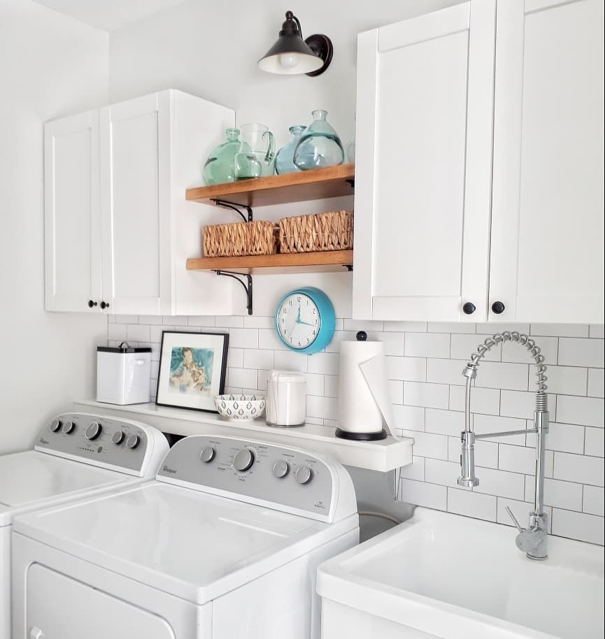 This Bright White Laundry Room Is Striking Love The Subway Tile