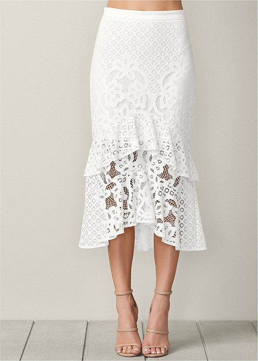 7b5ae00be LACE RUFFLE MIDI SKIRT, SEAMLESS CAMI, HIGH HEEL STRAPPY SANDAL,  EMBROIDERED FLORAL CLUTCH