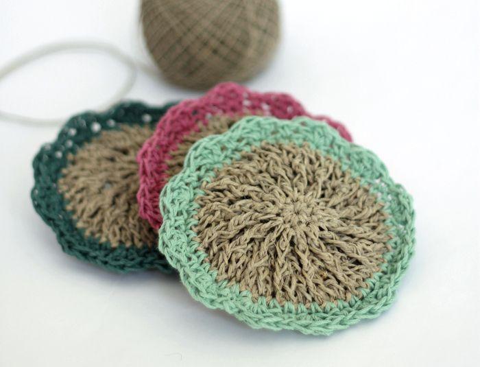 Crocheted Hemp Scrubbies - Free Pattern | Cosas de casa, Ganchillo y ...