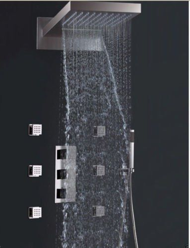 Rozin Thermostatic Waterfall Rain Shower Faucet Valve Mixer