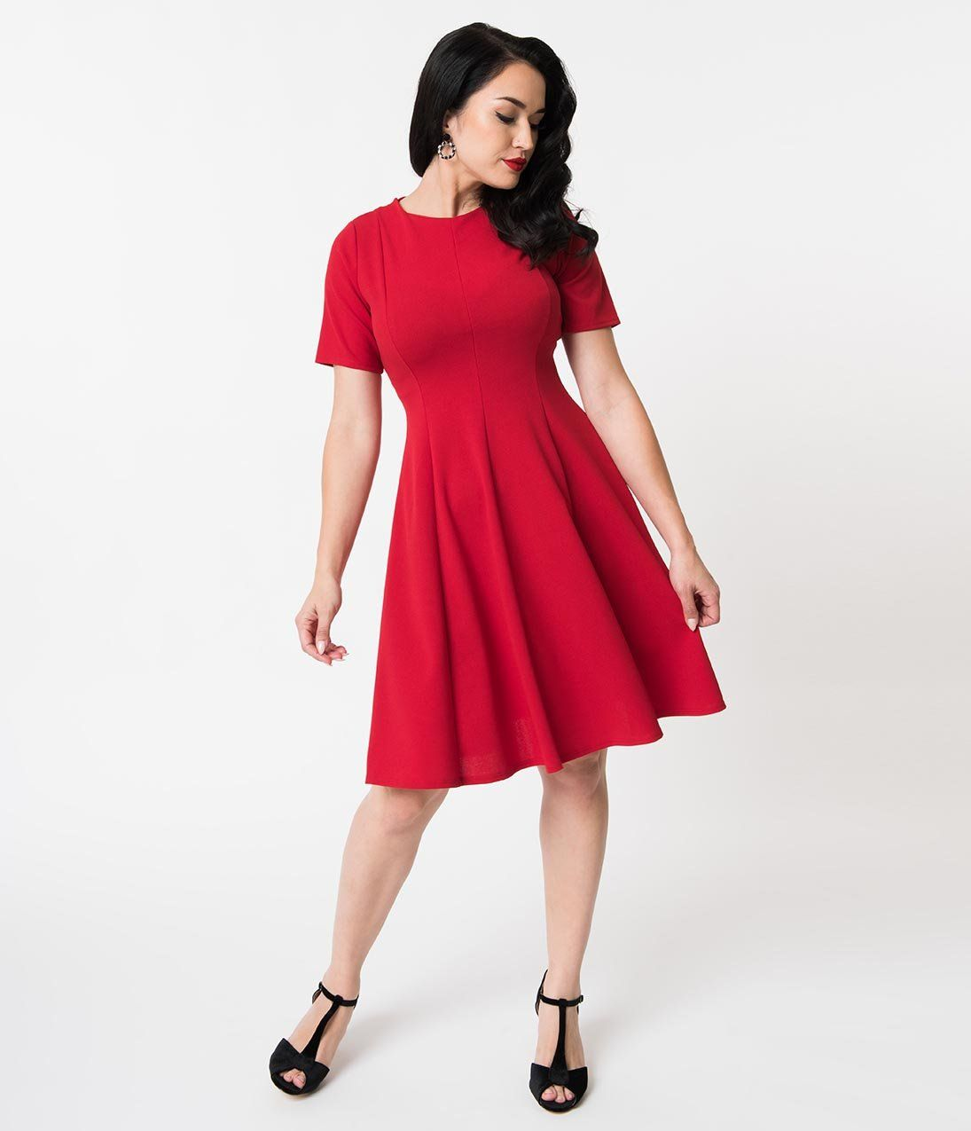 Retro Style Red Knit Sleeved Fit And Flare Dress Unique Vintage Fit And Flare Dress Flare Dress Casual Retro Inspired Dress
