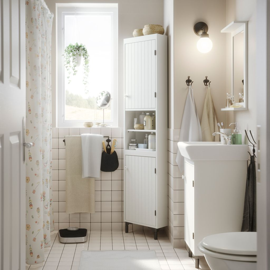 A small white bathroom with a corner cabinet, wash-basin cabinet and ...