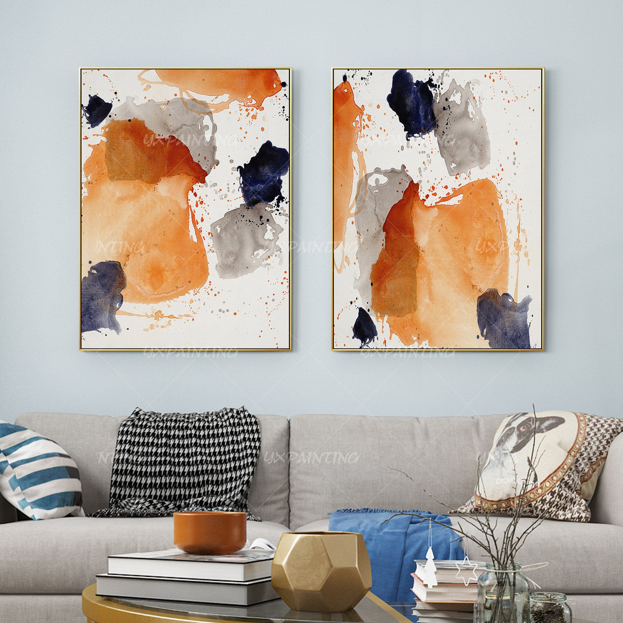 Set Of 2 Wall Art Print On Canvas 2 Pieces Abstract Yxpainting Etsy In 2021 Abstract Wall Art Living Room Wall Art Prints Grey Wall Art