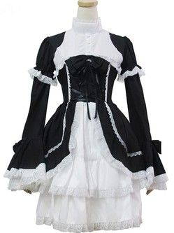 Black And White Long Sleeve Front Lace Up Lolita Dress