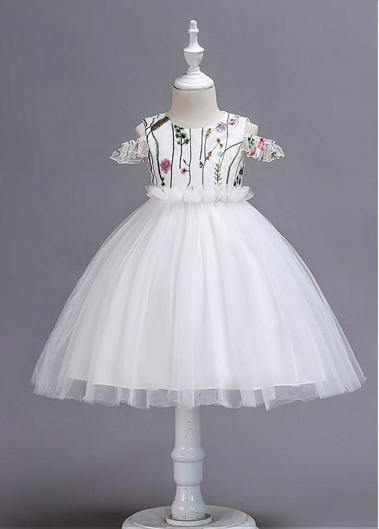 8fdc2e38f591f In Stock Pretty Tulle & Satin Jewel Neckline Ball Gown Flower Girl ...