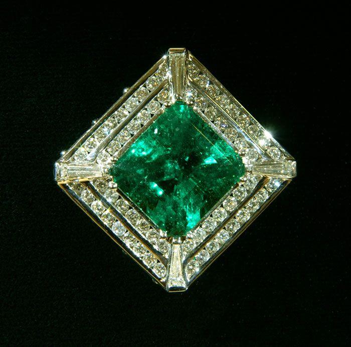 Emerald, Diamond & Gold Pendant / 13.29 carat emerald with 2.65 carats of diamonds...