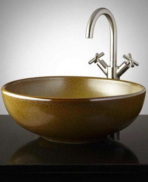 Bathroom Furniture, Fixtures And Decor. Bathrooms DecorBathroom SinksVessel  FaucetsMediterranean StyleHandmade PotteryGlazed ...