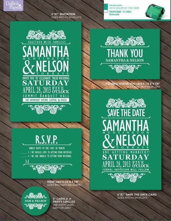 Vintage Wedding Invitation Emerald Green Rsvp By Dallinspaperie 30 00